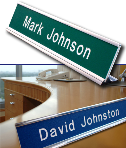 engraved desk plate